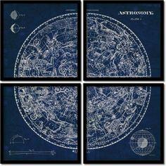 Found it at AllModern - 'Celestial Blueprint Quad' by Susan Schlabach 4 Piece Framed Graphic Art Set