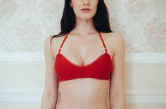 Red 'Carole' halterneck bralette by JulieKLingerie on Etsy