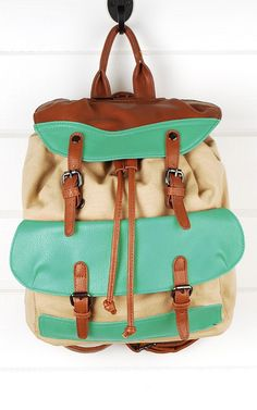 61158 Green Canvas Backpack With Flap shop Handbags at MakeMeChic.com