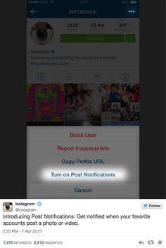 #Instagram lança nova funcionalidade que avisa ao usuário quando você publica um novo conteúdo
