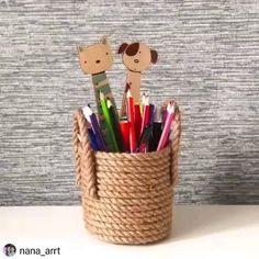 Diy Crafts For Home Decor, Handmade Home Decor, Pot A Crayon, Jute Crafts, Animal Crafts For Kids, Boho Diy, Diy Wall Art, Sisal, Organizer