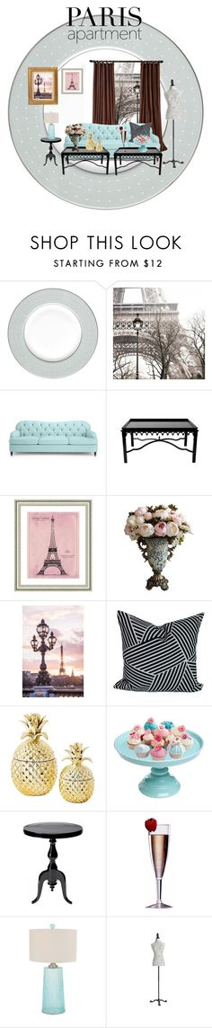 """""""J'aime Paris"""" by thegolfgirl ❤ liked on Polyvore featuring interior, interiors, interior design, home, home decor, interior decorating, Waterford, Kate Spade, Vintage Print Gallery and Nate Berkus"""