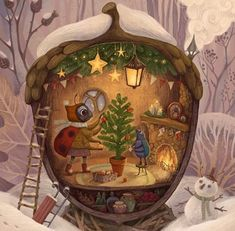 Christmas Scenes, Christmas Pictures, Christmas Art, Christmas Illustration, Cute Illustration, Fairytale Art, Whimsical Art, Best Artist, Cute Art