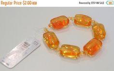 SUMMER SALE 25% OFF Amber Orange Rectangular Resin Beads by soyon