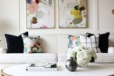 Abstract Art + Pillows || Studio McGee - cream couch with black and floral accents