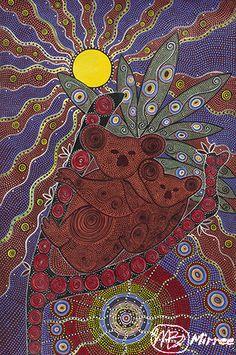 Koala & Baby Girlcee Print by Mirree Contemporary Aboriginal Art x Aboriginal Art Animals, Aboriginal Artists, Aboriginal People, Baby Painting, Dot Painting, Stippling Art, Folk, Art Premier, Australian Art