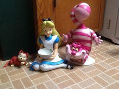 Alice, Dinah & Cheshire Cat Garden Statues Statuary Alice in Wonderland statue