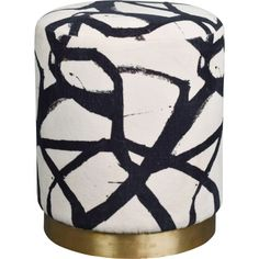Abstract Black & White Round Velvet Ottoman Footstool Brass Base Long Island House, Accent Furniture, Velvet Furniture, Cotton Velvet, Artwork Prints, Antique Brass, Ottoman Footstool, Chair And Ottoman, House Design