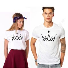 Crown Couronne Couple T Shirt trending t-shirt from our store and get up to off. You will not find this rare t-shirt in any other store, so grab this Limited Time Discount Now! Couple T Shirt Design, Couple Tee Shirts, Shirt Print Design, Family Shirts, T Shirt Designs, T-shirt Paar, T-shirt Couple, Disney Inspired Fashion, Inspired Outfits