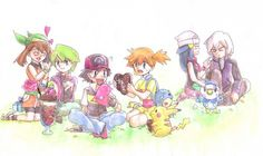 Pokemon - May, Drew, Ash, Misty, Dawn, and Paul