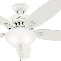 Hunter Fan 52 inch Fresh White Ceiling Fan with Light Kit Renewed Light Oak, Fan Light, White Ceiling, Chrome Finish, White Ceiling Fan, Ceiling, Light, Modern Ceiling, Bowl Light