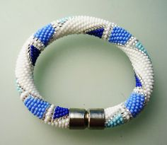 Beaded Bracelet  Beaded Crochet Bracelet-Blue and white by omes37