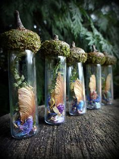 Elves Faeries Gnomes:  #Elf and #Faery bottles with acorn stoppers.