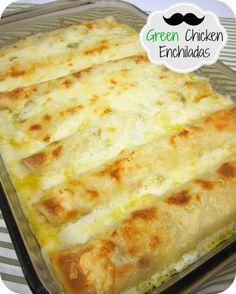 Chicken Enchiladas..I made these with pepperjack cheese so I didn't need to add the green chilies...turned out YUM! ***Cheese, chicken, then a sauce of butter, flour, chicken broth, and sour cream. Add any veggies you have lying around (green pepper, mushroom, onion, olives) to the filling along with some type of creamed cheese to thicken out the filling.