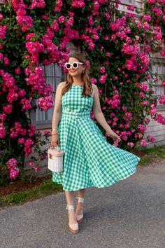 Eliza J Green Gingham Dress
