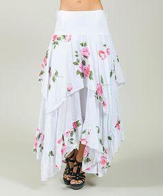 White Floral Handkerchief Skirt - Plus Too