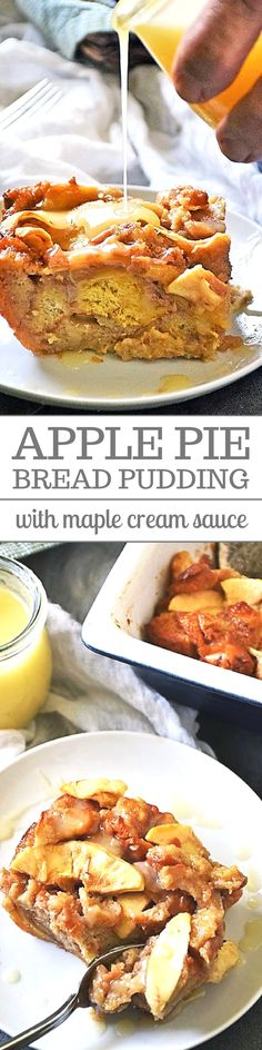 Apple Pie Bread Pudding with Maple Cream Sauce is an easy, yet impressive dessert for just about any occasion. Bursting with flavor from the warm apples, sweet cinnamon, and the irresistible maple cream sauce, you'll have a hard time finding someone who doesn't fall in love with this dessert! #DessertRecipes #AppleDesserts #BreadPudding