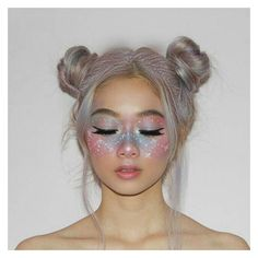 Pastel Rainbow Makeup ❤ liked on Polyvore featuring hair, beauty, makeup, people, backgrounds and filler