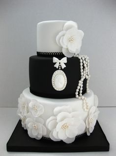 Black and white wedding cake By mina77 on CakeCentral.com