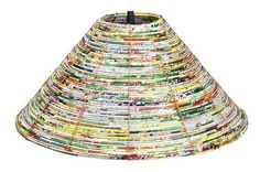 These colorful lampshades are made from recycled snack bags and candy wrapper by artisans in rural Bangladesh. Paper Lampshade, Lampshades, Lampshade Ideas, Diy Crafts To Do, Home Crafts, Magazine Crafts, Magazine Art, Recycled Gifts, Newspaper Crafts