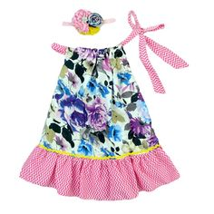 Beautiful cotton pillowcase dress. With adjustable tie neck for easy changes, the soft cotton construction ensures a comfy day out. This dress is a show stopper and will make any girl chic! Inviting cuties to a pretty party of frills and fun, this dress boasts a delicate cotton with an accenting sequin flag pocket. - 100% Cotton - Hand wash; hang dry