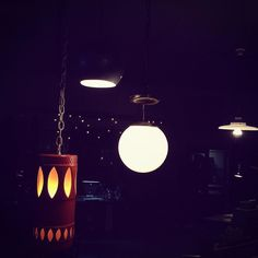 """This is a nice change of pace.  We've got a couple of groovy lights going on in here. Swing by say """"Hi"""" and buy some lighting.  see you soon! #societyofsalvage #industrialstyle #lighting #lightsout #afterdark #shopindy #indyantiques #shopindy"""