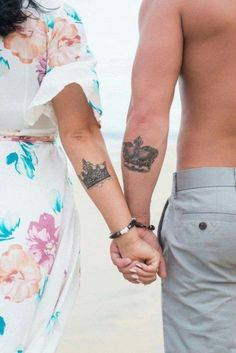 Top Matching Tattoos for Couples with Latest King and Queen Tattoo designs. We have given you some best ideas to ink your body. Couple Tattoos Love, Love Tattoos, Sexy Tattoos, Unique Tattoos, Body Art Tattoos, Finger Tattoos, Tattos, Queen Tattoo Designs, Couples Tattoo Designs