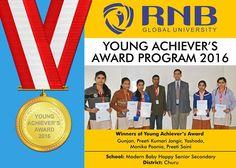 Gunjan Preeti Kumari Jangir Yashoda Monika Poonia Preeti Saini are the Winners of Young Achievers Award 2016 of Modern Baby Happy Senior Secondary from churu  #Bikaner #winners