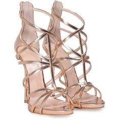 Mirrored Leather Cage Sandal (1.440 BRL) ❤ liked on Polyvore featuring shoes, sandals, heels, rose gold, womenshoessandals, leather sole sandals, leather sole shoes, heeled sandals, giuseppe zanotti sandals and zip back sandals