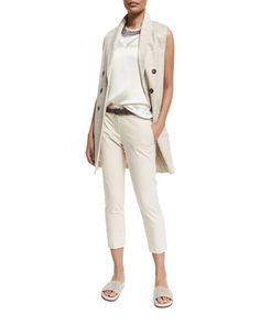 Double-Breasted Linen-Tweed Vest, Jewel-Neck Muscle Tank, Choker Necklace & Cropped Stretch-Twill Pants by Brunello Cucinelli at Neiman Marcus.