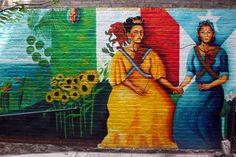 """Soldaderas"" by Yasmin Hernandez depicts the legendary Mexican painter Frida Khalo with Puerto Rican poet Julia de Burgos. Location: Modesto Flores Community Garden, Lexington Ave & 104th St."