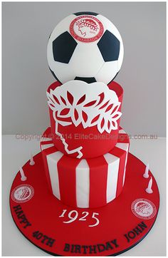 Olympiacos Greek Soccer Team Birthday Cake designed by EliteCakeDesigns in Sydney Football Birthday Cake, Iron Man Birthday, 6th Birthday Cakes, Happy 40th Birthday, 4th Birthday Parties, Soccer Cake, Soccer Theme, Football Cookies, Birtday Cake