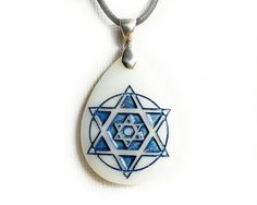 Star of David Necklace - Etched Glass Pendant by CreativeArtandSoul on Etsy