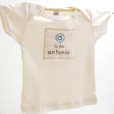 A is for Annie  B is for Betty  C is for Charles...  Customize an infant shirt! Just give us the name of the infant, and choose the color combination, and we will make it for you. All text is embroidered in lower case letters.    100% certified Organic cotton shirt or one piece, organic cotton patch with initial and name embroidered on it.    Color: Natural with brown and blue, brown and pink, or brown and orange embroidery    Made in USA    Care: Machine wash cold, mild detergent, dry low…