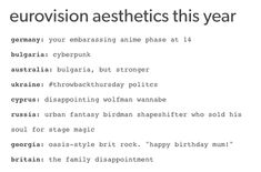This succinct and accurate summary:   Tumblr Reacted Hilariously To Eurovision, As You Might Expect