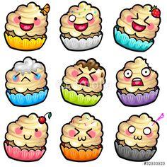 Vecteur : cake smile set