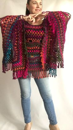 # crochet fashion plus size Rainbow Poncho Pride Women Crochet outlander Triangle Shawl Poncho Au Crochet, Mode Crochet, Crochet Coat, Crochet Shawls And Wraps, Crochet Jacket, Crochet Clothes, Gypsy Crochet, Knitted Shawls, Outlander Knitting Patterns