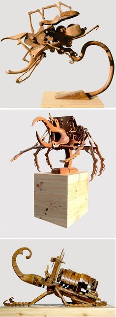 Hybrid Kinetic Insects Carved from Wood by Dedy Shofianto