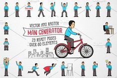 Men Character Generator by DreamBikeShop on @creativemarket