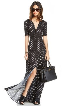 Coveted Contemporary Black  White Polka Dot Maxi Dress | DAILYLOOK