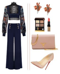"""Cropped Top and Wide Leg Pants"" by arta13 on Polyvore featuring JIRI KALFAR, Ted Baker, Christian Louboutin, Prada, Bobbi Brown Cosmetics, Lanvin and Tom Ford"