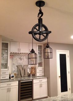 Pulley decor – Eclectic Home Decor Today Farmhouse Light Fixtures, Rustic Light Fixtures, Hanging Light Fixtures, Farmhouse Lighting, Farmhouse Kitchen Decor, Hanging Lights, Pully Light, Rustic Lighting, Rustic Industrial