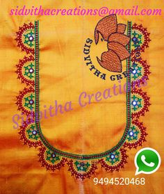 @Sidvitha Creations Hand Embroidery Dress, Embroidery Neck Designs, Hand Embroidery Tutorial, Embroidery Works, Creative Embroidery, Crewel Embroidery, Embroidery Patterns, Mirror Work Saree Blouse, Mirror Work Blouse Design