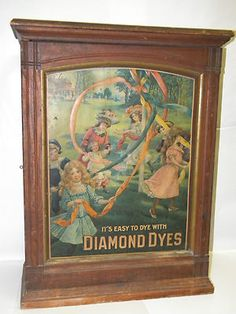 Antique Diamond Dyes Wooden Display Cabinet
