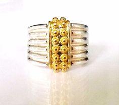 Milor ITALY Sterling Silver 925 & 14K Gold Designer Bead Dot Pebble Size 6 Ring #Milor #Band