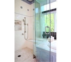 Victorian inspired shower with blue tile accents