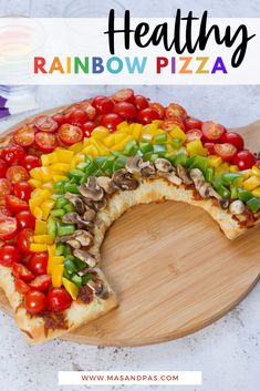 Looking for a pizza recipe that has a healthier spin on it that your kids will still love? This rainbow pizza recipe is super healthy, packed with healthy ingredients and toppings, and is definitely kid approved for lunch or dinner! #pizzarecipes #kidapprovedrecipe #kidapprovedfood #familydinneridea #familydinnerrecipe Healthy Meals For Kids, Easy Healthy Recipes, Kids Meals, Healthy Food, Rainbow Pizza, Making Homemade Pizza, Toddler Lunches, Easy Family Meals, Kid Friendly Meals