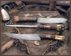 A Ciboleros buffalo hunting knife set and sheath…. - The Knife Network Forums : Knife Making Discussions Medieval Weapons, Medieval Life, Mountain Man Style, Hunting Knife Set, Global Knife Set, Native American Warrior, Bushcraft Knives, Knife Handles, Leather Projects
