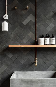 Rough finish herringbone tiles and deep concrete bathroom sink. Ramped up textures! Rough finish herringbone tiles and deep concrete bathroom. Modern Small Bathrooms, Small Bathroom Tiles, Bathroom Toilets, Beautiful Bathrooms, Modern Bathroom, Bathroom Wall, Slate Bathroom, Bathroom Faucets, Contemporary Bathrooms