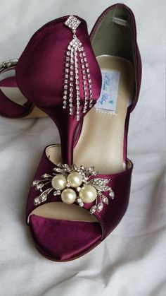 Bridal shoes with front and back crystals. Burgundy wedding shoes. These amazing bridal shoes have been dyed a Burgundy, but is available in over 100 #weddingshoes